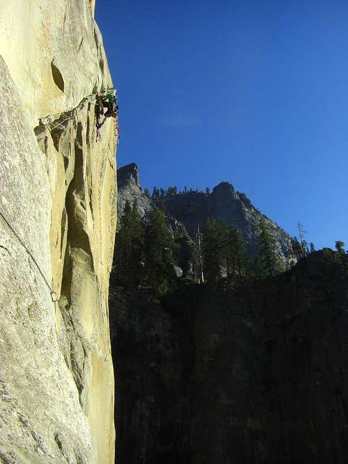 Rob leading P5 of the W face of the Leaning Tower