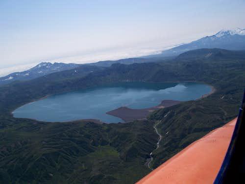 Aerial view of Karymsky Lake