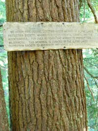 Alpine Lakes Memorial Sign