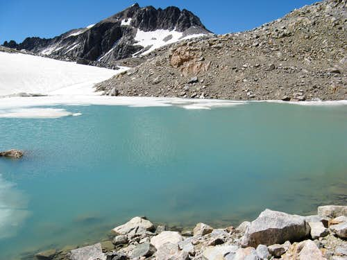 tarn just below Skytop Glacier, with Mt. Villard in the Background.