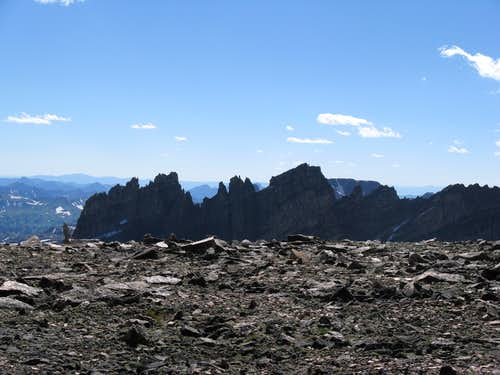 View of the Mt. Villard Spires from the broad plateau on top of Cairn Mountain.