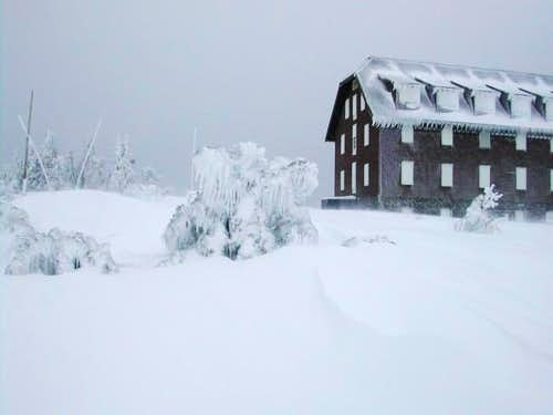A winter view of the lodge.