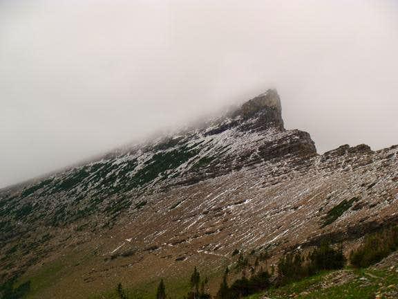 Cataract Mountain in Summer Snow