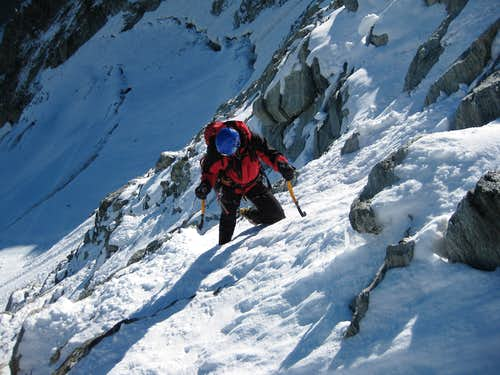 Climbing the north face, lower mixed part