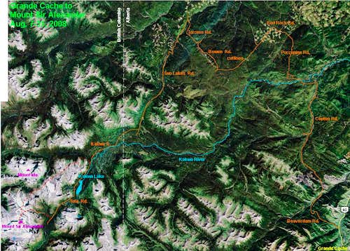 Route from Grande Cache, Alberta to Mount Sir Alexander