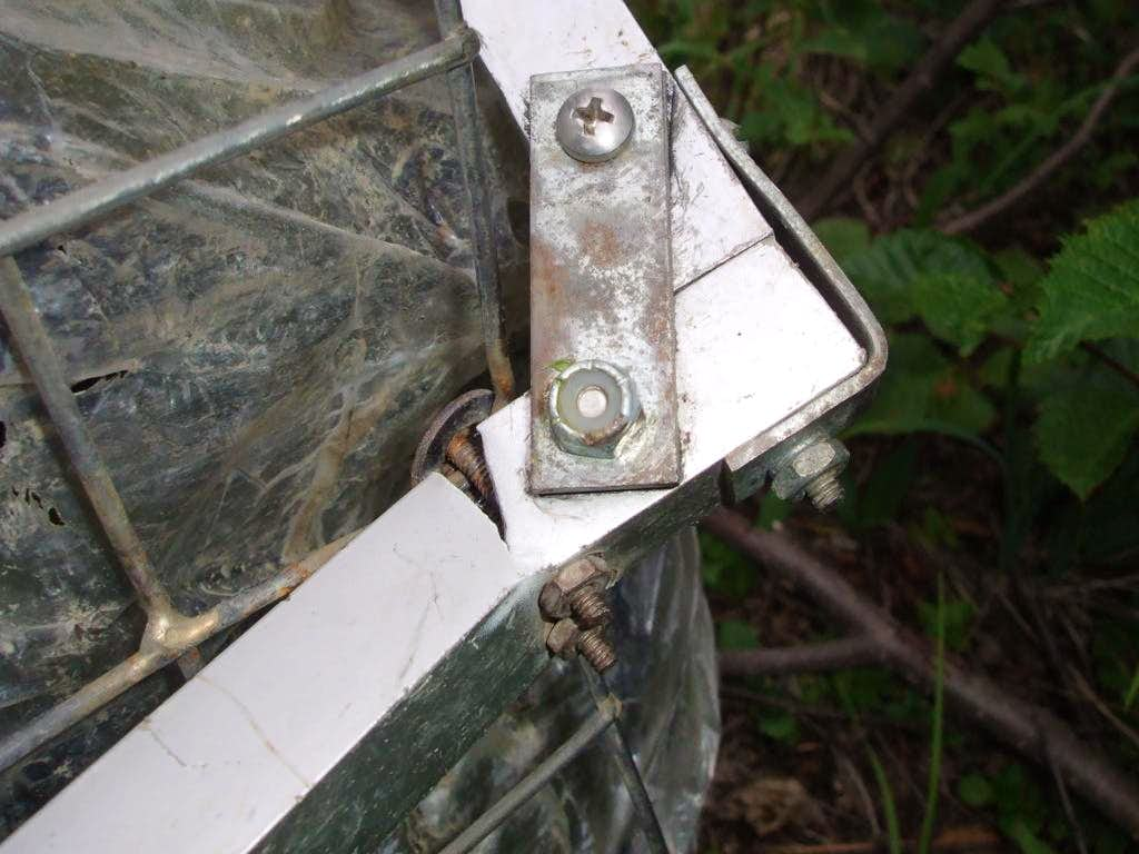 Sheared frame on home-made trailer used to approach Mount Sir Alexander