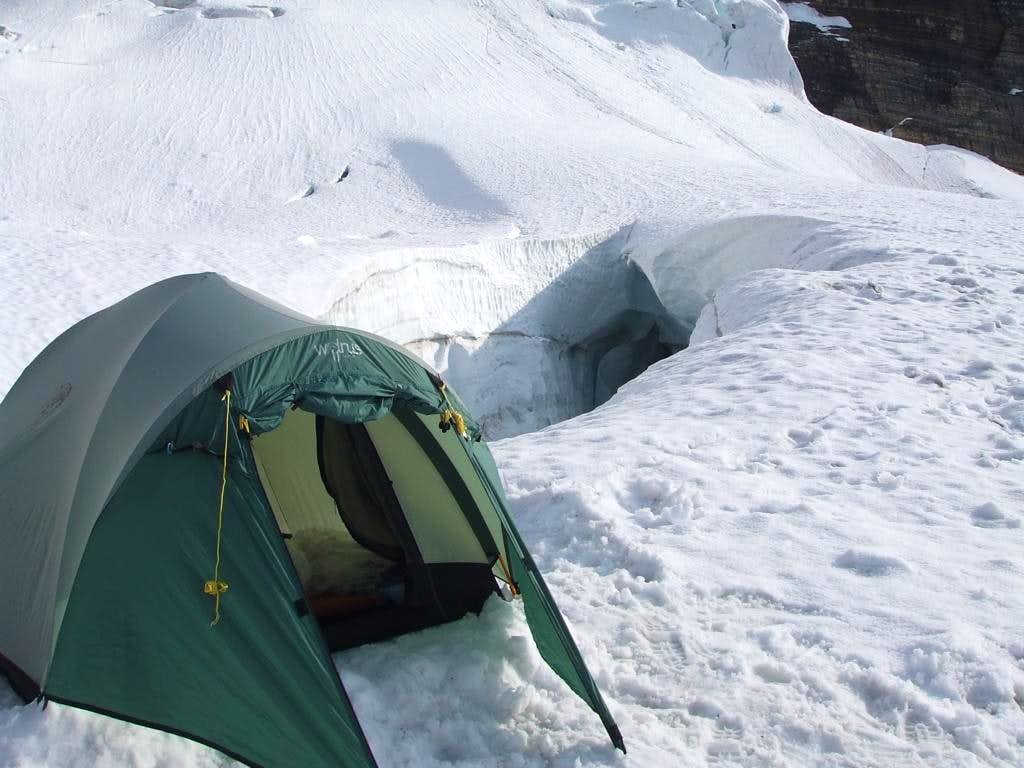 Camp on Mount Sir Alexander by a colossal crevasse