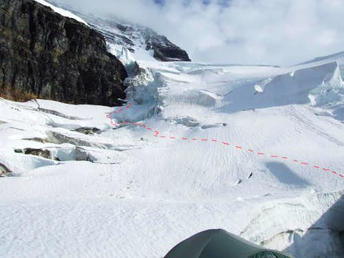 Route taken to the base of the icefall on Mount Sir Alexander