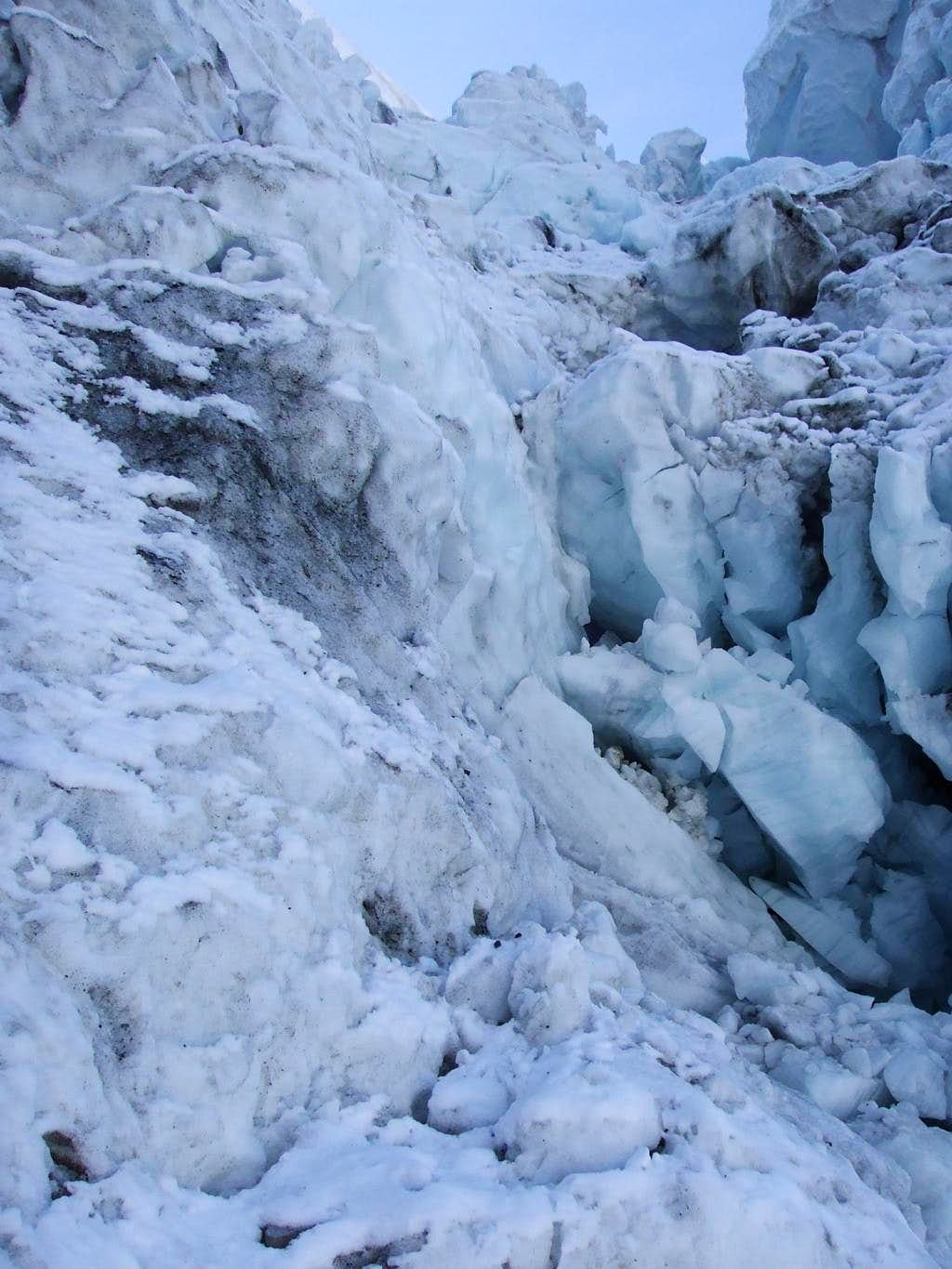 Seracs loomed in the entrance to the terrifying icefall