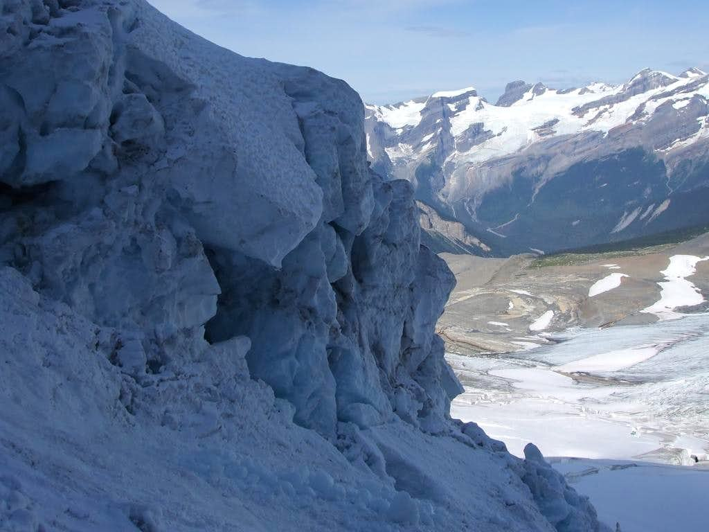 Looking down an icefall on Mount Sir Alexander