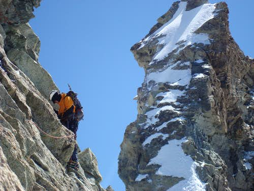 On the Sphinx traverse, North Ridge of Zinalrothorn