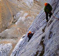 Climbing Cepeda Route (350m, V+/6a) on the East Face of