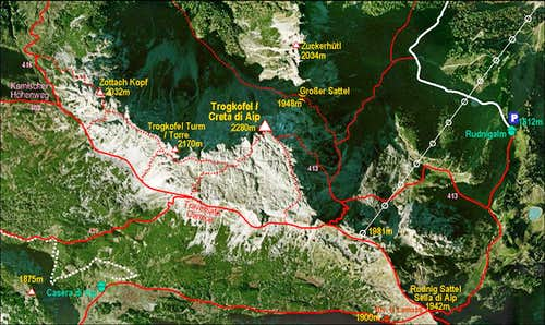 Creta di Aip / Trogkofel map