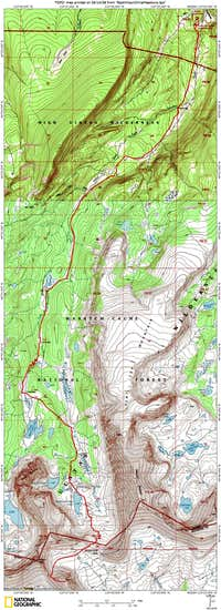 Topo map of route from China Meadows