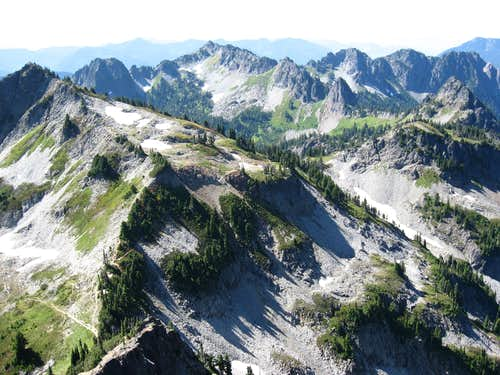 Looking west from Pinnacle at the Tatoosh Range