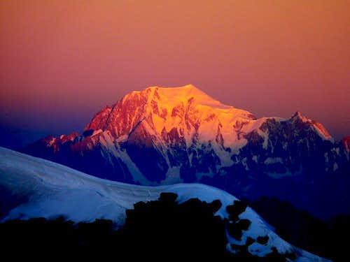 First sunbeam on Mont Blanc