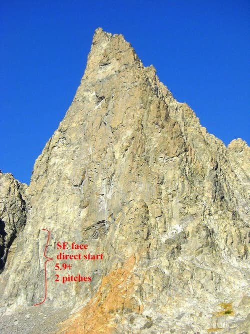Direct start to the SE face, Clyde Minaret