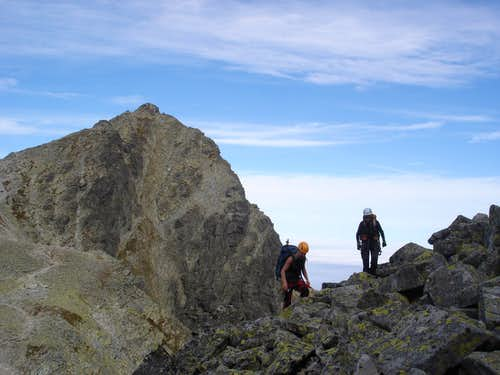 on the traverse of Cesky summit with Rysy summit at the back