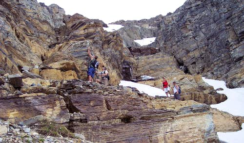 Upper cliffs on South Slope Route