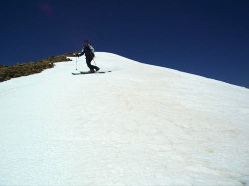 Scott skiing below Jicarita