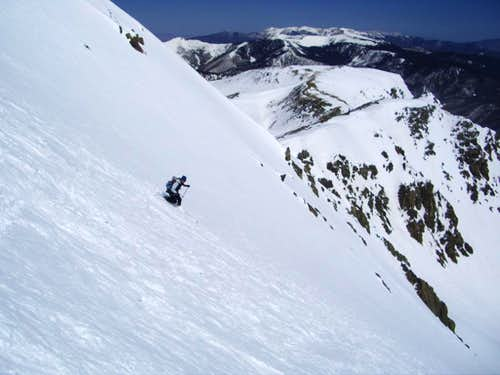 Scott skiing NE slope of Lake Fork Peak