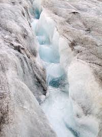 Water running down the glacier