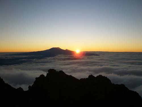 Sunrise behind Kilimanjaro