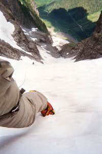 looking down the C-J Couloir