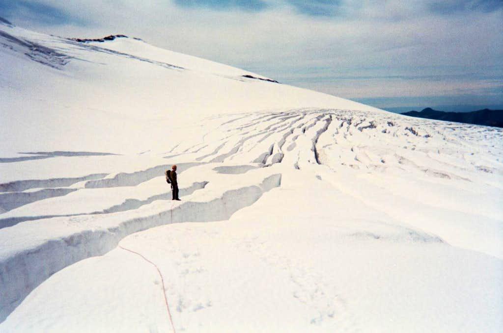 Traversing the Coleman Glacier on Mt. Baker