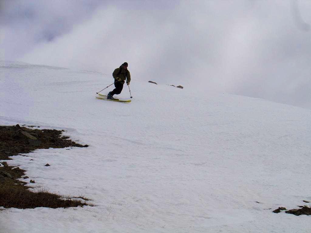 Aaron skiing off Wheeler Peak