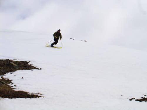 Aaron skiing off Wheeler Peak