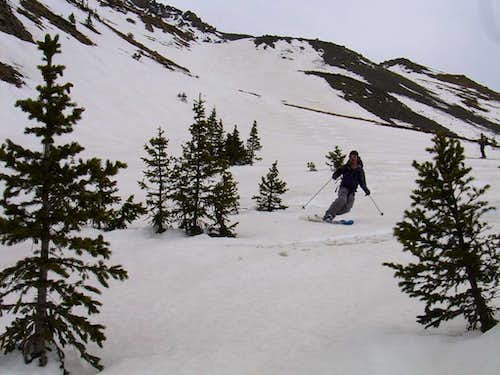 Matt skiing through trees