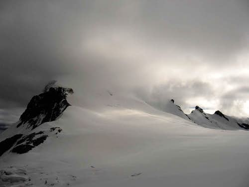 The Breithorn pass and the western summit.