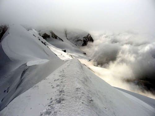 The ridge between the west and central Breithorn.