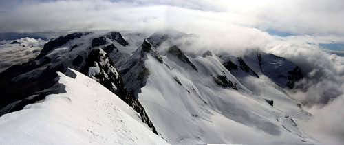 The Monterosa massif seen from the central Breithorn.