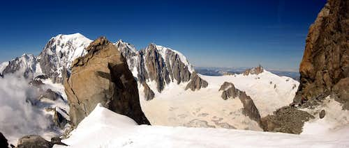 The Mont Blanc seen from the base of Dent du Geant.