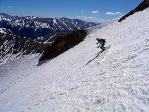 Amy skiing Grizzly Chute