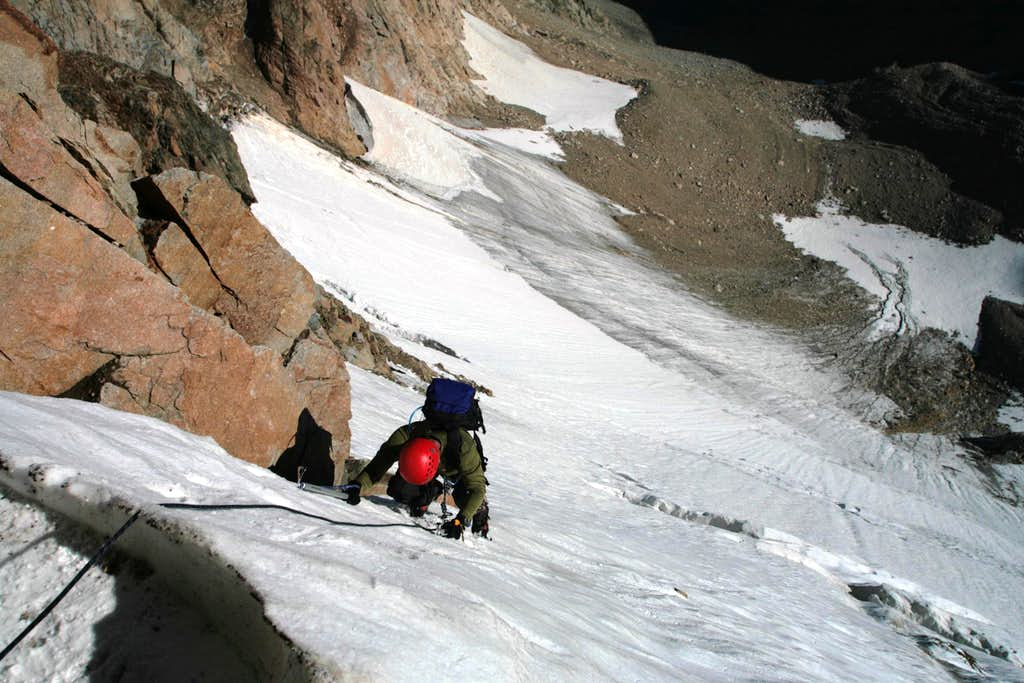 Damon Vrabel topping out on glacier on the north face route