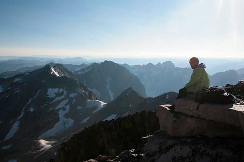 Damon Vrabel on the summit...glacier peak and lowe couloir in background