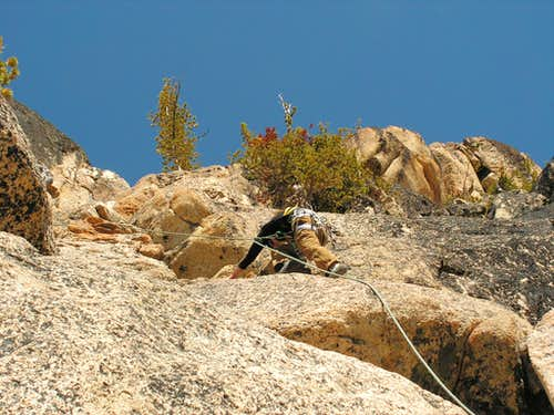 Amber on Pitch 1, South Arete