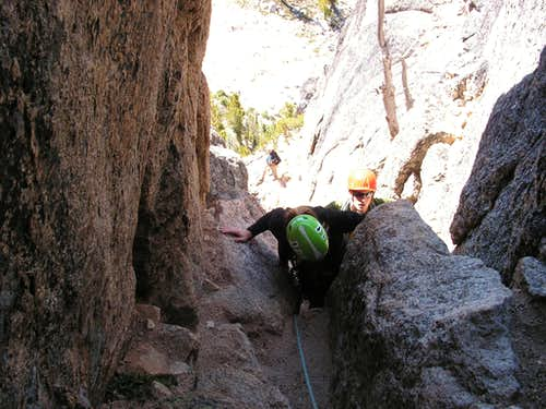 Nearing the Chimney, South Arete route