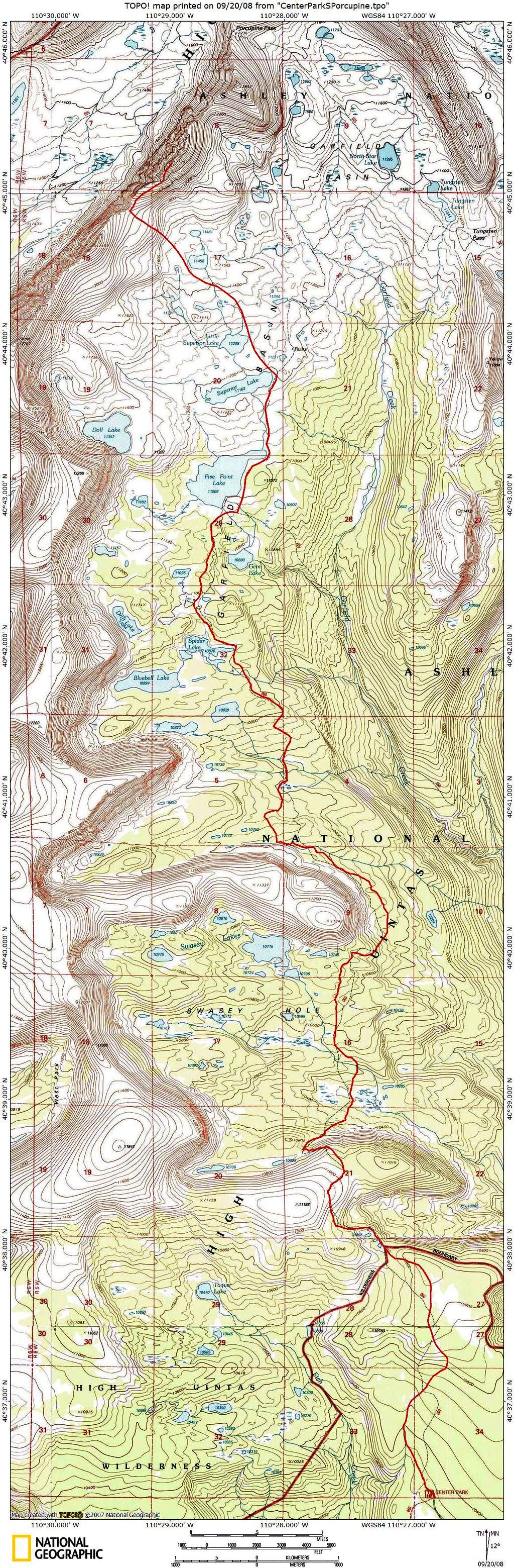 S Porcupine Mt Topo map