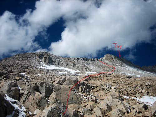Route as seen half way up the boulder field