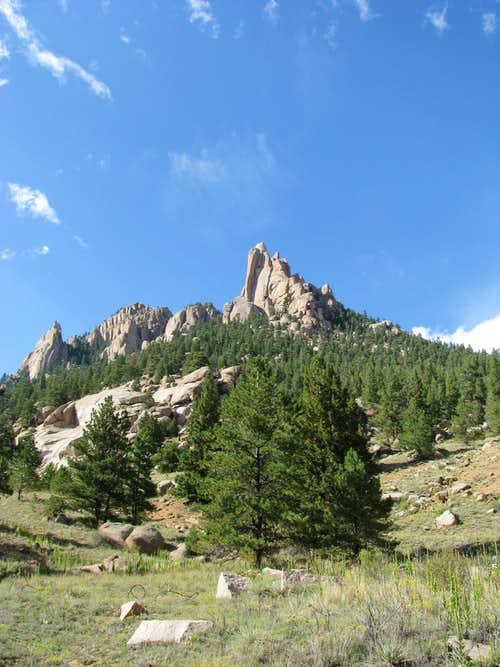 Spires from North Fork of South Platte River valley