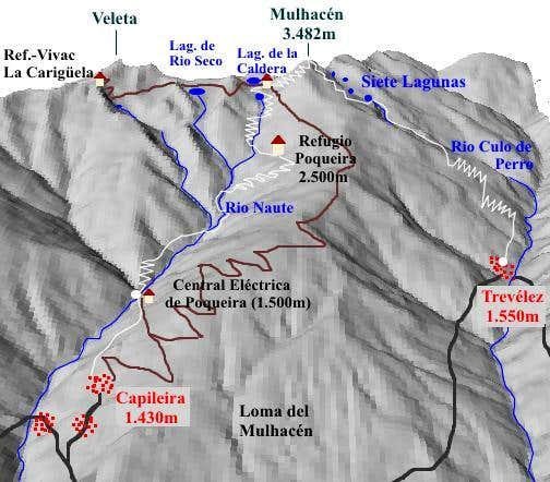 Map Mulhacen with the routes...
