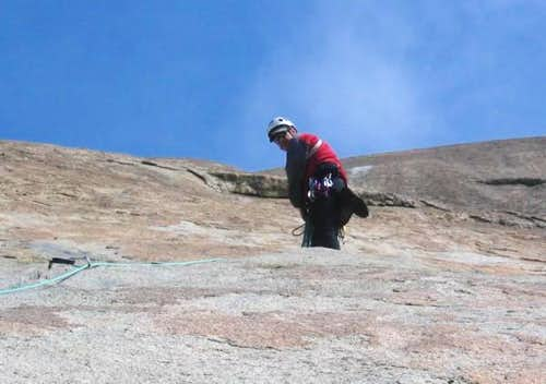 Sam belaying from the top of...