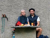 Two Pyrenean peasants at the Moudang barns, 2005