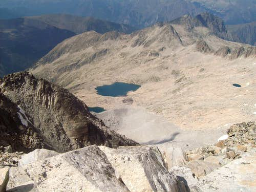 Coronas lakes and Pico Araguells from the summit of Aneto