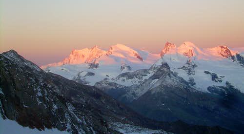 Morning glow on the Pennine Alps