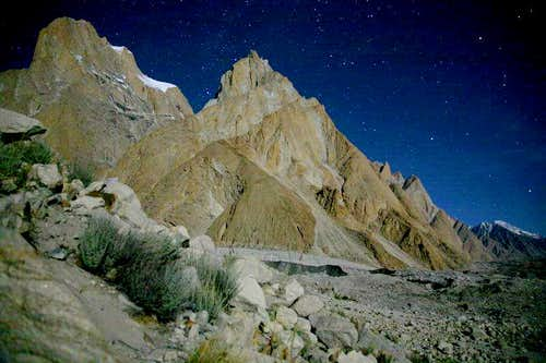 Trango Towers in Star Lights